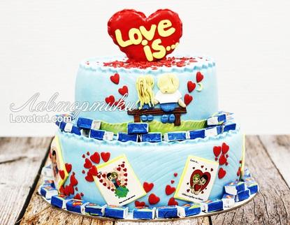 Торт Love is из мастики